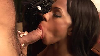 Ebony Curvy Chick Enjoys Interracial Sex