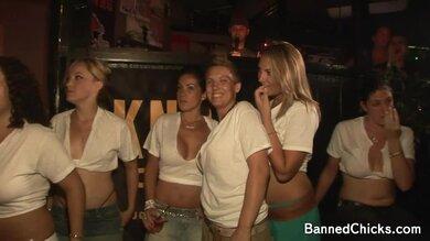 Slutty Teens Enjoy Dancing In Wet T Shirts