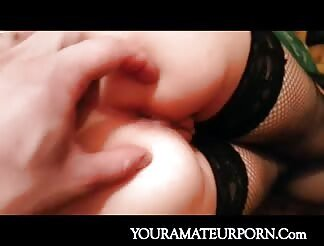 Girlfriend In Stockings And Lingerie Anal Banged Doggy Style
