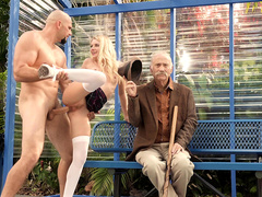Teen Riley Star Getting Fucked Hard At The Bus Stop