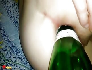 Kinky Amateur Double Penetrated With A Dick And A Bottle