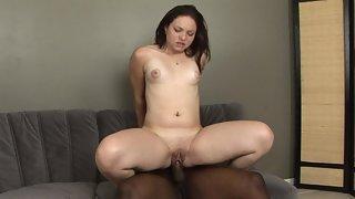 Slutty Hot Brunette Rides Massive Black Cock