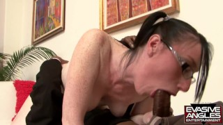 EVASIVE ANGLES Violet Snow Is A Hot Brunette With Glasses Who Needs Big Black Cock!