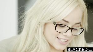 Thin Blonde Coed Elsa Jean Slobbers All Over Black Massive Cock